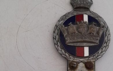 EXTREMELY RARE CHROME AND ENAMEL 1950 ROYAL NAVY BUMPER/GRIL...
