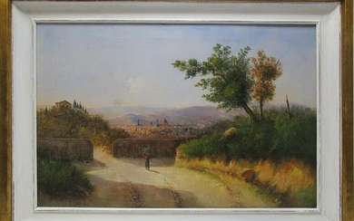European oil on canvas lanscape painting, signed
