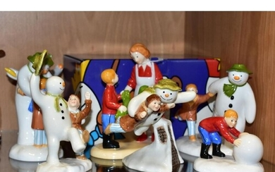 FIVE COALPORT CHARACTERS 'THE SNOWMAN' FIGURES AND TWO SIMIL...