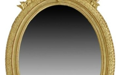 FRENCH GILTWOOD OVAL WALL MIRROR