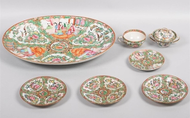 GROUP OF CHINESE EXPORT ROSE MEDALLION DISHES, LATE 19TH CENTURY