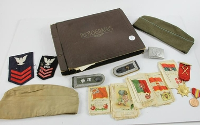 Group of WWII Items, Album, Badges, Buckle