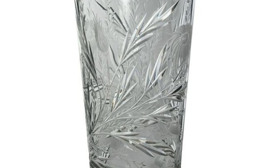 Hawkes ABP Cut Glass Crystal Sterling Silver Vase