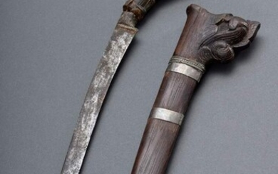 "Indonesian dagger, probably ""Tumbuk Lada"", with carved figural handle ""parrot""..."