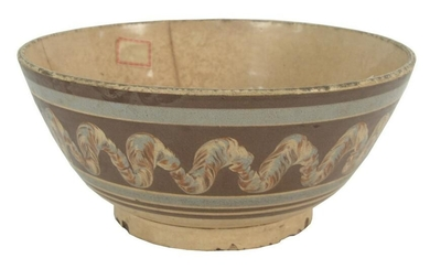 Large Mocha Footed Bowl brown and blue with earthworm