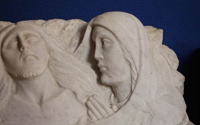 Large Relief Sculpture of Jesus and Mary - Hand Sculpted - 53cm (1) - White Statuary Marble of Carrara - 20th century