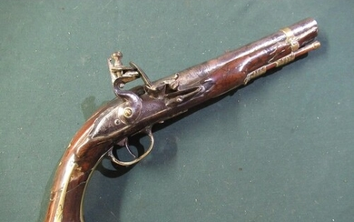 Late 18th C flintlock pistol with 7inch barrel with various ...