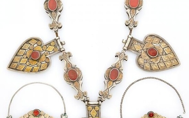 Metal and Carnelian Ethnic Ornaments and Pendant-Necklace