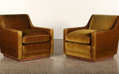 PAIR GOLD UPHOLSTERED LOUNGE CHAIRS C. 1950