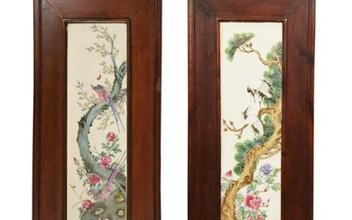Pair of Chinese Framed Famille Rose Plaques, Republic