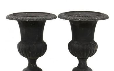 Pair of Classical Style Cast Iron Garden Urns