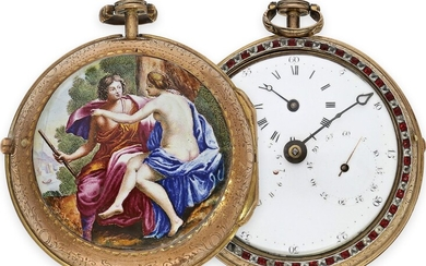 Pocket watch: early and very rare astronomical coach clock with...