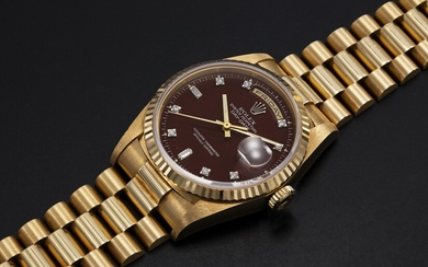 "ROLEX, A GOLD OYSTER PERPETUAL DAY-DATE WITH ""OXBLOOD STELLA DIAL"", REF. 18238"