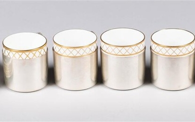 SIX TIFFANY & CO. SILVER CUPS AND SAUCER DISHES WITH FIVE SPODE AND ONE WEDGWOOD PORCELAIN LINERS