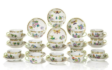 SIXTEEN HEREND QUEEN VICTORIA CUPS AND SAUCERS