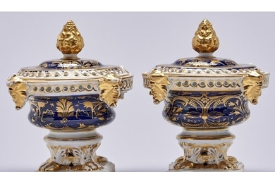 Two Derby cobalt ground pot pourri vases and later matching ...
