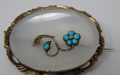 Victorian Turquoise & Gold Set Rock Crystal Floral Pattern B...