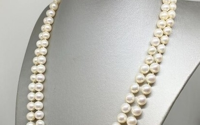18 kt. Gold - Necklace Akoya Pearl - Lapis lazulis, Pearls, 7.0 mm