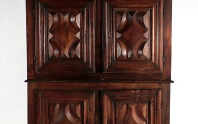 18TH C. STATELY FRENCH TWO PART CABINET