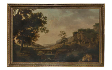 18TH CENTURY SCHOOL Classical Landscape with a Drover...