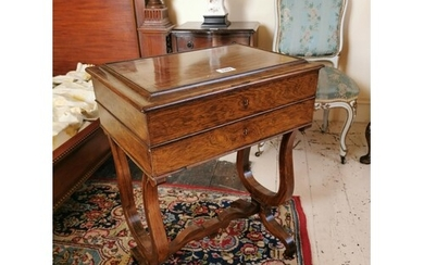 19th C. satinwood inlaid rosewood sewing table on lyre suppo...