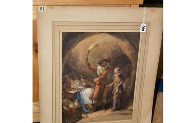 A 19TH CENTURY WATERCOLOUR DEPICTING MALE FIGURES LOOKING AT...