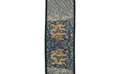 A Chinese Silk Embroidered Dragon and Wave Panel