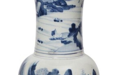 A Chinese porcelain 'phoenix-tail' vase, 18th century, painted in underglaze...