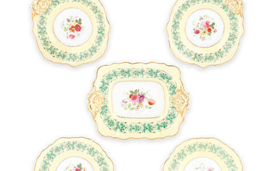 A Copeland & Garrett yellow-ground part dessert service, circa 1833-1847, together with a small collection of other ceramic items