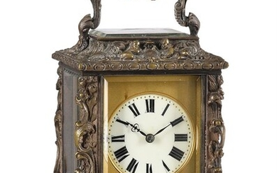 A FRENCH SCULPTED SILVERED BRASS ROCOCO STYLE CARRIAGE CLOCK WITH REPEAT