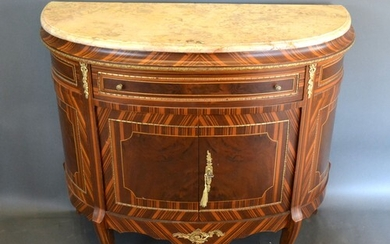 A French style demi-lune side cabinet, the variegated marble...