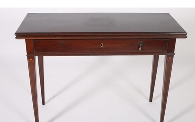 A GEORGIAN MAHOGANY FOLD OVER SUPPER TABLE the rectangular h...
