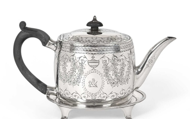 A George III Provincial Silver Teapot and an Associated...