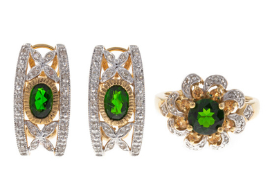 A Gold Chrome Diopside & Diamond Ring & Earrings