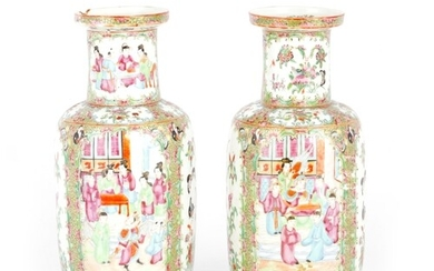A PAIR OF 19TH CENTURY CHINESE CANTON PORCELAIN VASES WITH S...