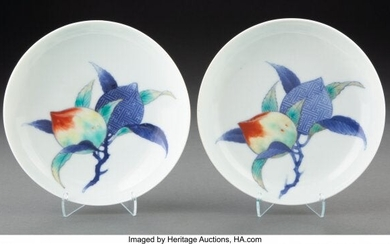 A Pair of Japanese Nabeshima Ware Peach Dishes 1