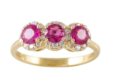 A RUBY AND DIAMOND TRIPLE CLUSTER RING, the circular rubies ...