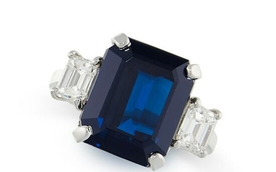 A SAPPHIRE AND DIAMOND RING in platinum, set with an