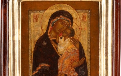 A SMALL ICON SHOWING THE MOTHER OF GOD OF JAROSLAVL WITHIN