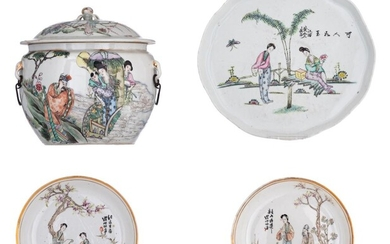 A collection of Chinese Qianjiangcai and famille rose porcelain ware, Republic period, with signed text, tallest item H 16,5 - ø oval tray 27,5 cm