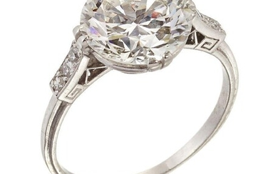 A diamond single stone ring, the brilliant-cut diamond, weighing 3.67 carats,dimensions 9.99-10.13 x 6.02mm, in double claw mount to single-cut diamond three stone shoulders, ring size N Accompanied by report number 81317-85 dated 15th July 2021...