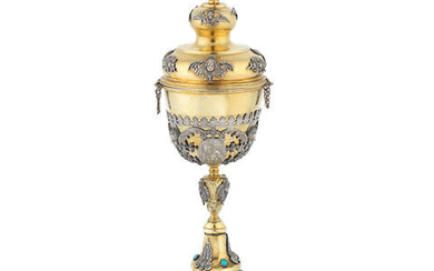A late 19th century silver-gilt chalice with cover