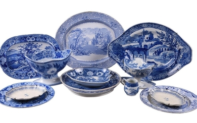 A miscellaneous selection of Staffordshire blue and white printed pottery