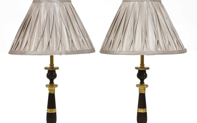 A pair of French Empire-style bronze and gilt-bronze candlesticks