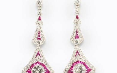 A pair of diamond, ruby and platinum earrings