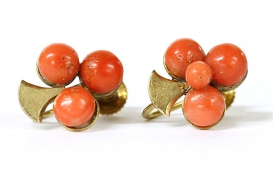 A pair of gold coral bouton trefoil earrings