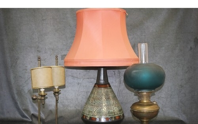 A pair of lacquered brass table lamps, with shades, each 47c...