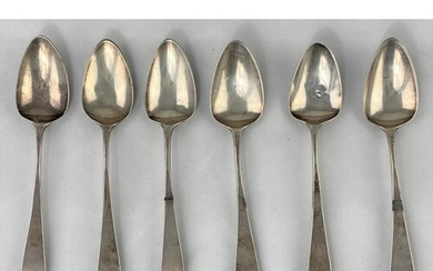A set of 6 Old English pattern Georgian hallmarked silver te...