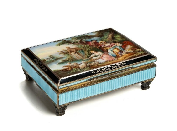 An Austrian sterling silver and guilloche vanity box