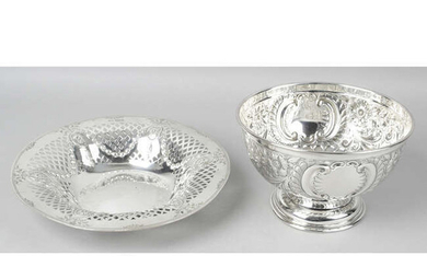 An Edwardian silver rose bowl, together with a late Victorian pierced silver dish. (2).
